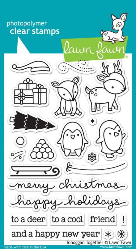 LF0976 ~ TOBOGGAN TOGETHER ~ CLEAR STAMPS BY LAWN FAWN